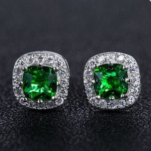 Swarovski Elements 925 Silver Emerald Studs NEW